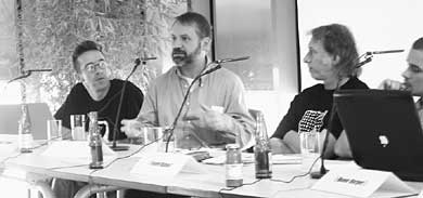 Lloyd Dunn in a panel discussion on the public domain at Ars Electronica, Linz, Austria, 2003